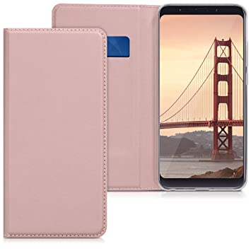 kwmobile Funda para Xiaomi Redmi Note 5 (Global Version) / Note 5 Pro - Carcasa para móvil de [Cuero sintético] - Case [Plegable] en [Oro Rosa]