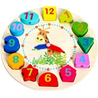 Crazy Crafts Wooden Learning Clock, Educational Digital Analog Numbers and Shape Learning for Kids Wooden Montessori Toy, Bead Lace Wooden Toy Clock Multicolour