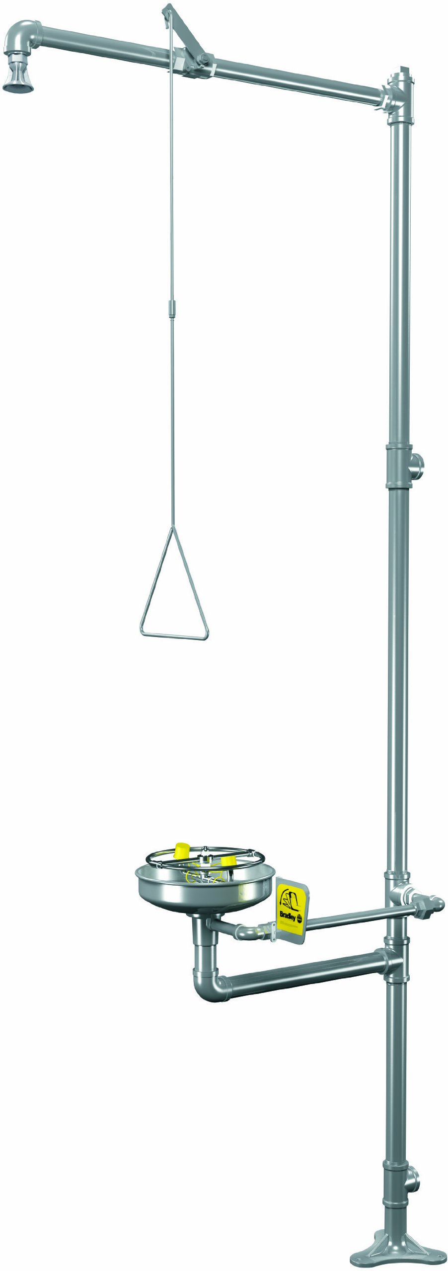 Bradley S19-310BFSS Stainless Steel 3 Spray Head Stainless Steel Barrier Free Combination Drench Shower and Eye/Face Wash Unit, 20 GPM, 10-3/4'' Width x 94-3/4'' Height x 34-3/8'' Depth, Yellow