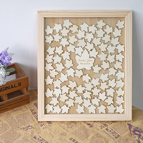 Personalized Wedding Guest Book Wood Leaves Drop Box Frame Guestbook with Name and Date Wedding Gifts
