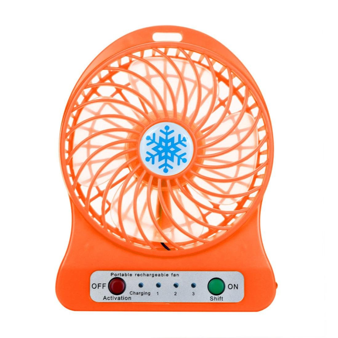 Portable Rechargeable LED Light Fan Air Cooler Mini Desk USB 18650 Battery Fan (Orange) by A.M.Feker