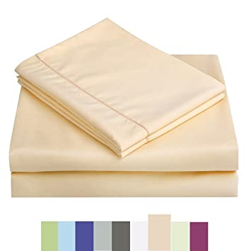 Bed Sheet Set   Microfiber Bedding Deep Pockets Sheets 4 Pc By Maevis (Gold,