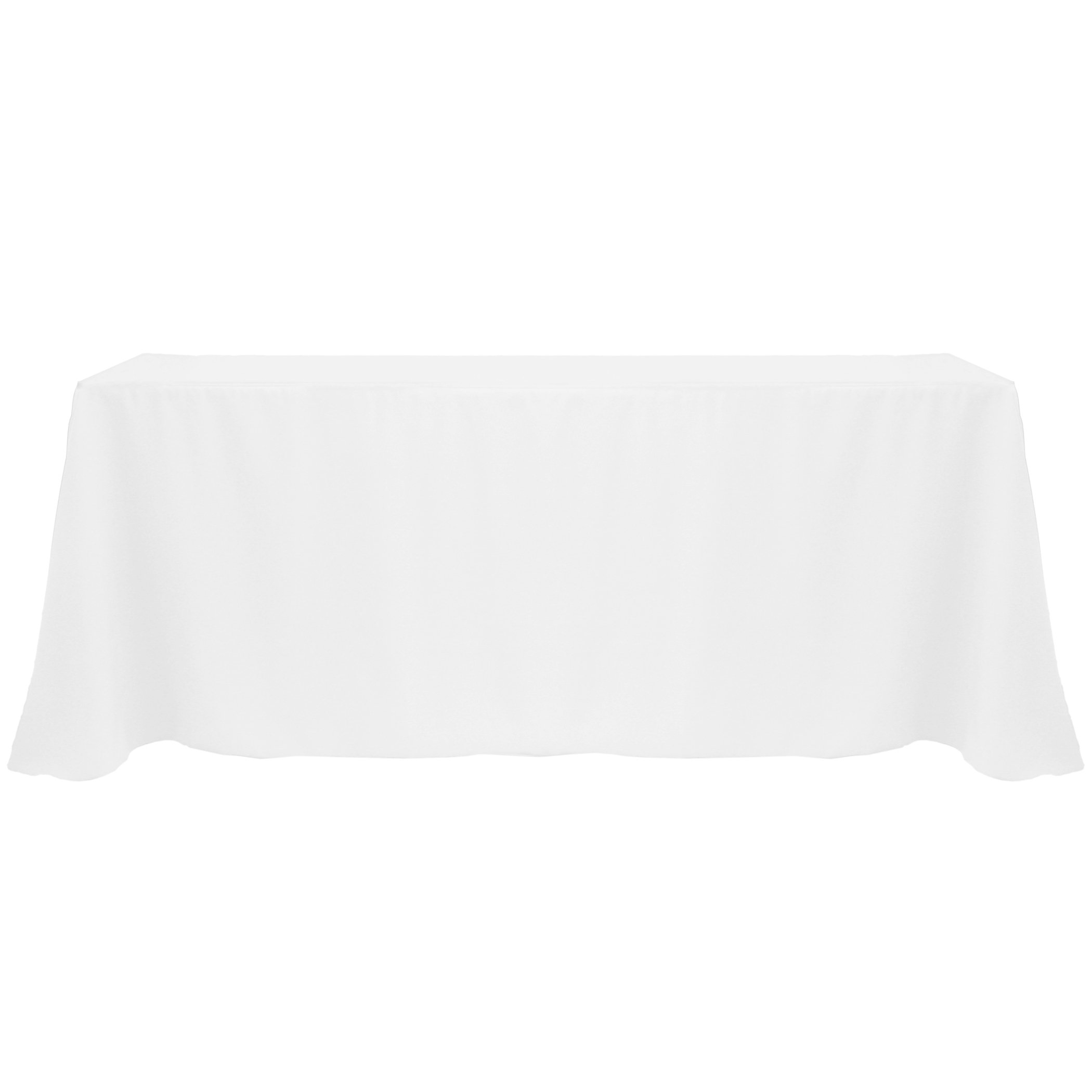 Ultimate Textile (5 Pack) 90 x 132-Inch Rectangular Polyester Linen Tablecloth with Rounded Corners - for Wedding, Restaurant or Banquet use, White