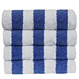 BC BARE COTTON Luxury Hotel & Spa Towel 100% Egyptian Cotton Pool Beach Towels - Cabana - Blue - Set of 4