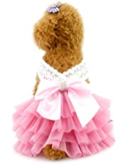 SMALLLEE_LUCKY_STORE YP0224-XL Small Dog Princess Tutu Polka Formal Skirt with Bow Pet Apparel, X-Large, Pink