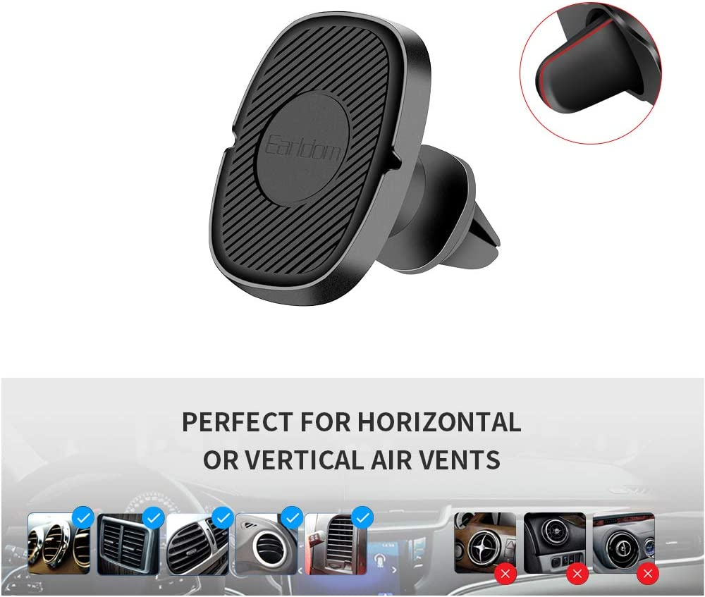 Earldom Car Phone Mount Universal Air Vent Magnet Phone Holder Fits iPhone 11 Xs Max XR X 8 7 6S 6 Plus and Most Smartphones Magnetic Phone Car Mount