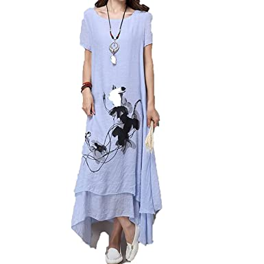 Unique-Shop Fashion Cotton Linen Plus Size Vintage Print Women Casual Loose Long Summer Dress