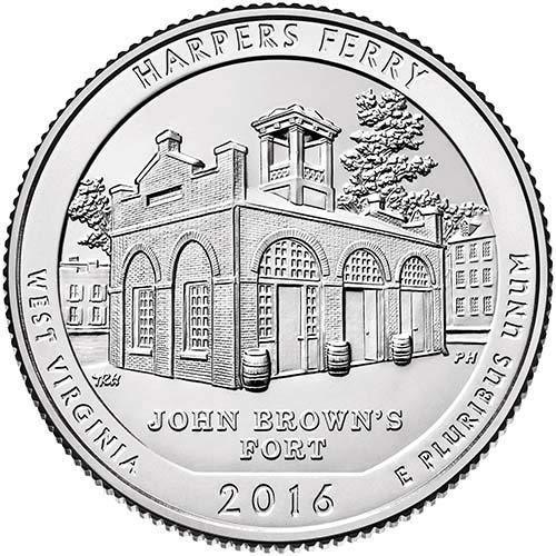 - 2016 P,D,S BU Harpers Ferry National Park Quarter Choice Uncirculated US Mint 3 Coin Set