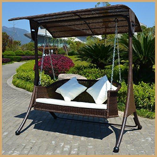 Al aire libre Patio adultos columpio silla cuna balcón sofá doble balancín cesta de mimbre para colgar interior: Amazon.es: Jardín