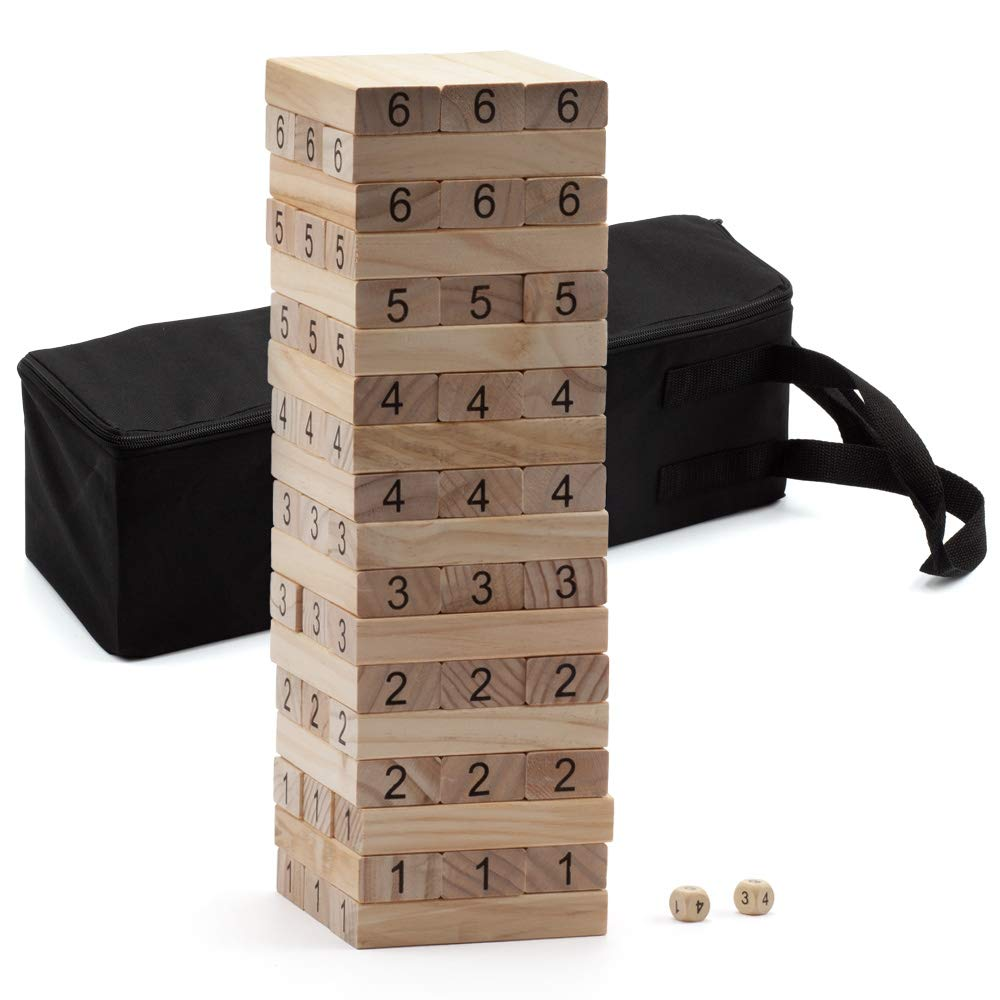 54-Piece Giant Tumbling Timbers. Stacking Game with Dices – 18'' Tall (Build to Over 3 ft)