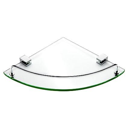Amazoncom Vdomus Bathroom Tempered Glass Corner Shelf Stainless