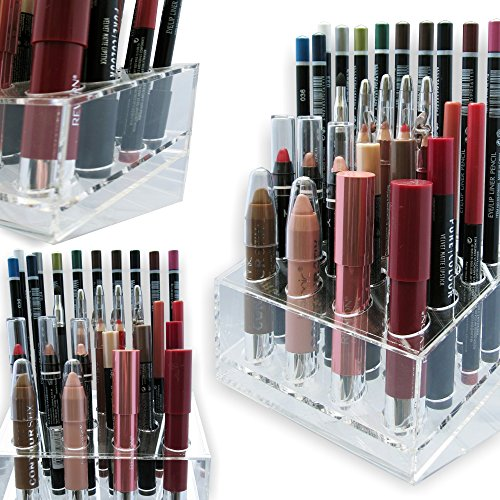 Eye / Lip Liner Acrylic Makeup Organizer by Skin Radiance. Lip Liner - Eye Liner - Lipsticks - Brushes - Cosmetic Stand & Beauty Holder for your Vanity Table.