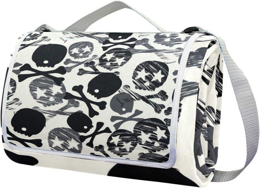 XINGAKA Coperta da Picnic Tappetino Campeggio,Vettore Floreale Bianco Nero Senza Cuciture del Modello,Giardino Spiaggia Impermeabile Anti Sabbia 15