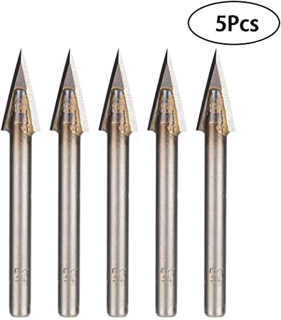 5x 1//8/'/' 2 Two Straight Flute Engraving Pyramid CNC Bit Router Endmill 30° 0.1mm