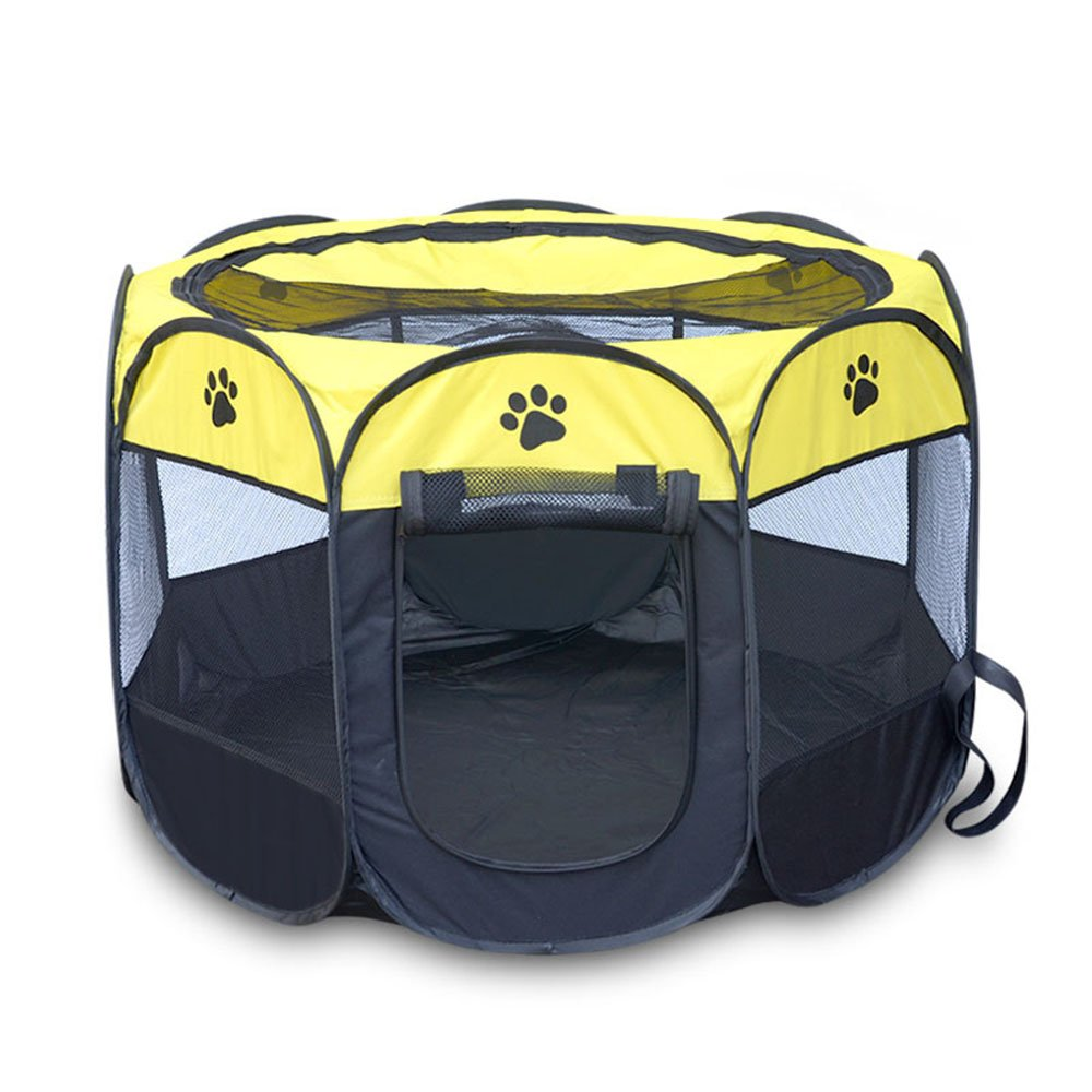 3 MediumAGOUWO Portable Foldable Puppy Dog Pet Cat Rabbit Guinea Pig Fabric Playpen Crate Cage Kennel Tent Easy Operation Octagonal Fence,002,M