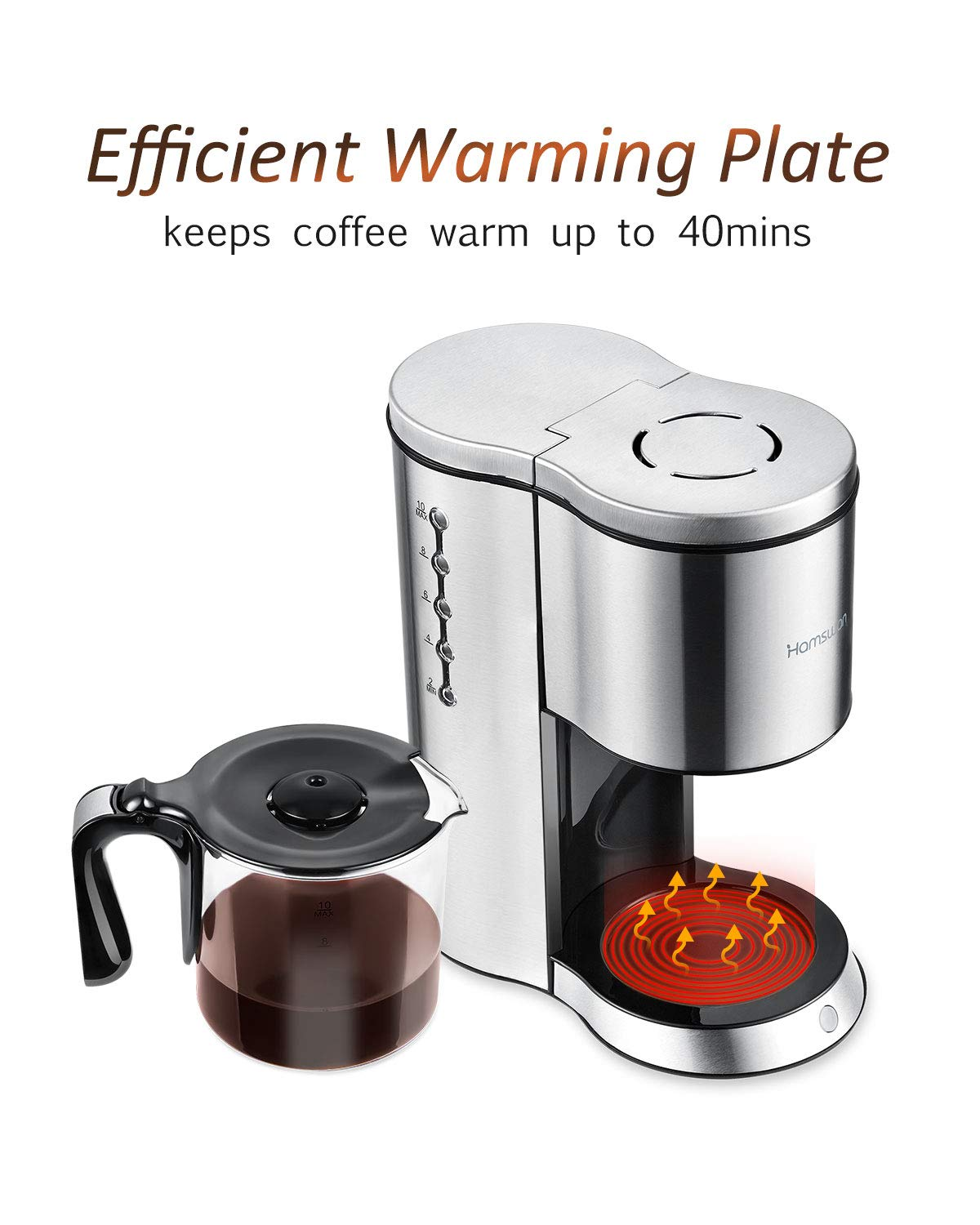 Drip Coffee Maker, HAMSWAN AD-103 Stainless Steel Coffee Maker Coffee Pot, Small 10 Cup Coffee Machine with Glass Thermal Carafe, Insulated, Keep Warm, Automatic Shut Off for Single Serve & House Use by HAMSWAN (Image #6)