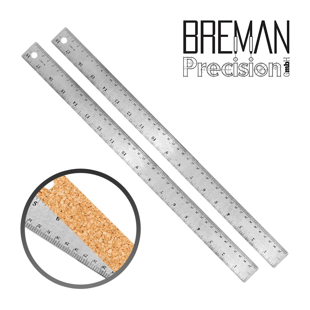 18 inch Non Slip Steel Ruler Pack of 2-18 inch High Grade Flexible Stainless Steel Ruler 2 Pack Set with Non Slip Cork Base for Excellent Precision and Accuracy (2 Pack)