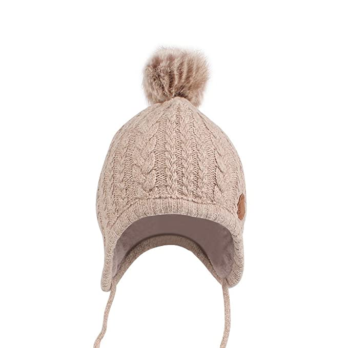 3fb9f67a75e3 Chapeaux de tricot pour bébé Bonnet, tukis portes Unisexe Garçon Fille  Bonnet d hiver tricoté Doublure en polaire chaude Infant Baby hiver Earflap  Chapeau ...