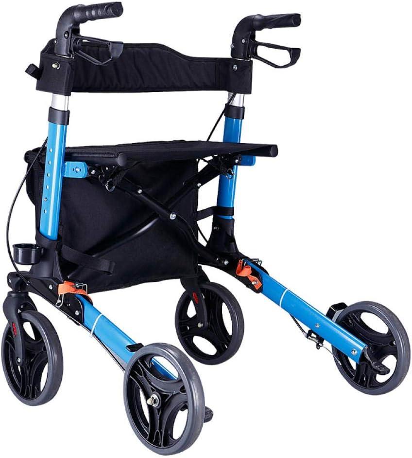 Caminante de edad avanzada, andador, carro para caminar, caminar, carro de cuatro ruedas, carro de compras
