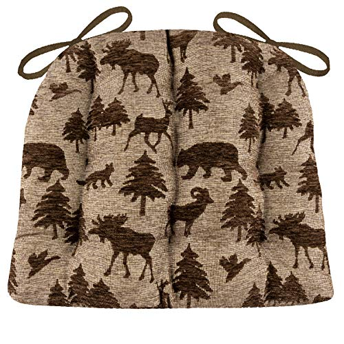 Barnett Products Woodlands Waypoint Brown Dining Chair Pad with Ties - Size Extra-Large - Latex Foam Fill - Rustic Log Cabin & Lake House Tapestry (Lodge/Saddle) ()