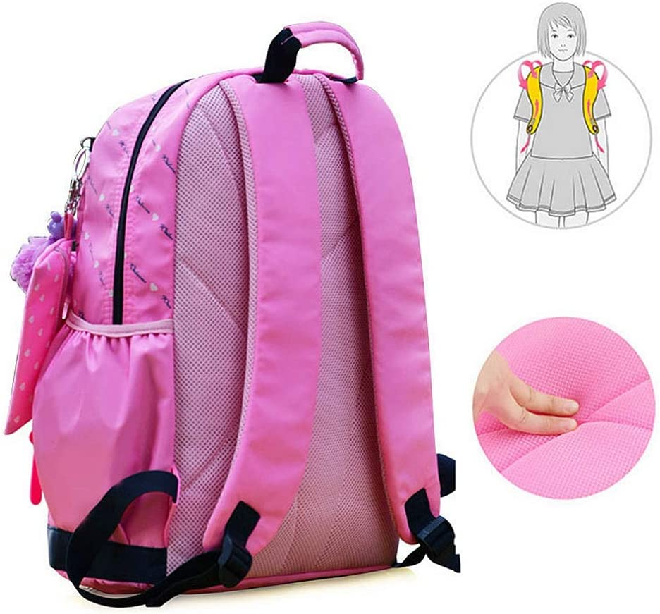BWAM Cute Bowknot Hearts Printing Casual Teens Girls Backpack Set 3 in 1 Laptop Bag Primary Students Backpack Handbag Purse Casual School Bookbag Set for Travel Daily Use Color : Dark Blue