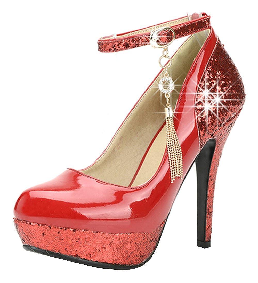 09ebf4af059444 YE Damen Ankle Strap High Heels Lack Glitzer Plateau Pumps mit Riemchen und  Stiletto 12cm Absatz Elegant Party Schuhe  Amazon.de  Schuhe   Handtaschen