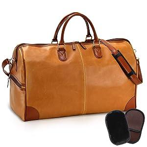 平野鞄 豊岡職人の技 国産 トラベルバッグ 2泊用 オールドレザー調のレトロな風合い ボストンバッグ 50cm+オリジナル高級ムートングローブ (キャメル)