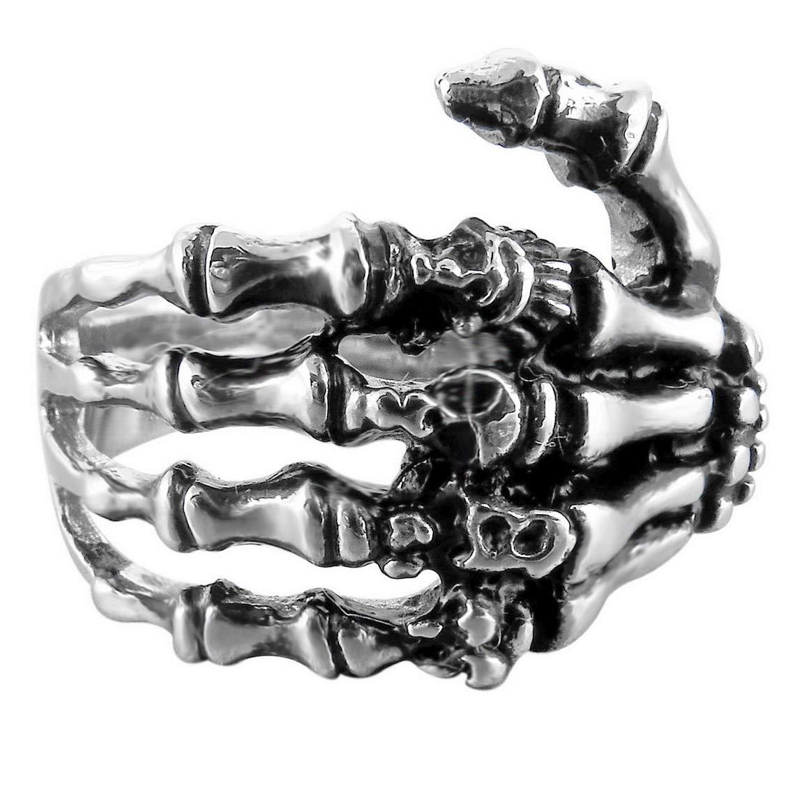 INBLUE Men's Stainless Steel Ring Band Silver Tone Black Skull Hand Bone Size10