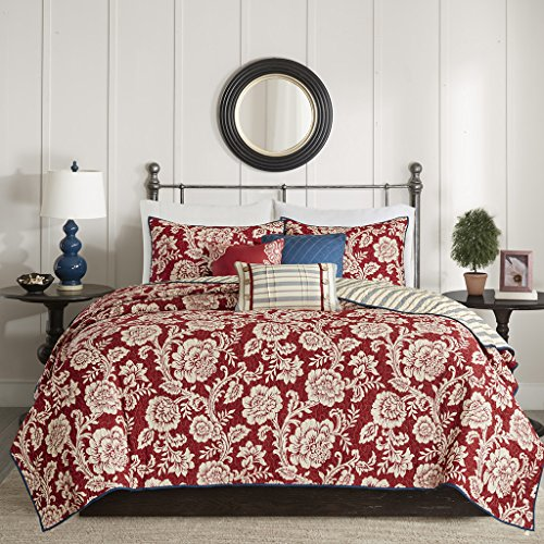 (Madison Park Lucy King/Cal King Size Quilt Bedding Set - Red, Navy , Reversible Floral, Stripes - 6 Piece Bedding Quilt Coverlets - Cotton Twill, Cotton Poly Blend Reverse Bed)