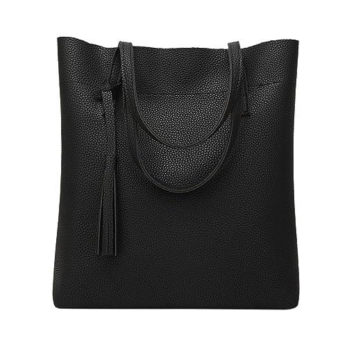 Amazon.com  Stylish Women s Soft Leather Single Shoulder Bag Concise Tote  Large Capacity Tassel Handbags  Shoes 1955cfe522d67