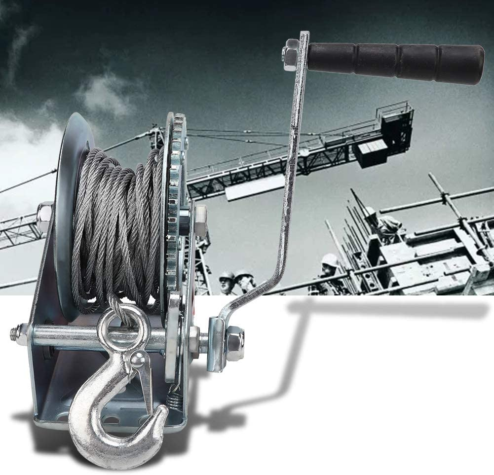 2 Gears for Boats Trailers Manual Hand Crank Winch 1200LB with 10m Steel Cable