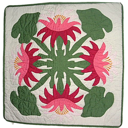 """Hawaiian Pink Lotus Flowers Hand Quilted Pillow Cover 16"""""""