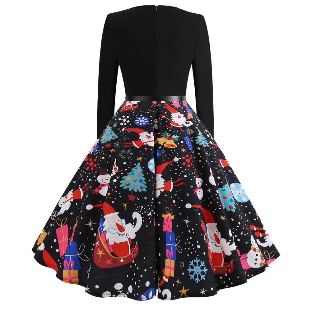 Shakers123 Womens Christmas Evening Party Dress Long Sleeve Printing Vintage Gown