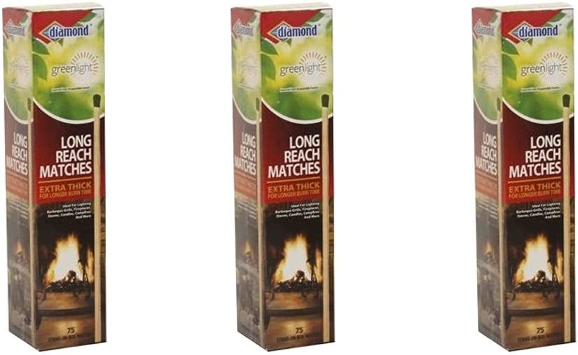 Diamond Long Reach Matches*75Ct*10In*Easy Light*Long Burning*Grill*BBQ*Camp*New