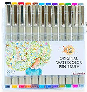 watercolor Brush Pens by Buyartosh: 12 Watercolor pen & Markers with Flexible Tips and Caps plus Case and Ebook for Coloring, Writing, Sketching, and Drawing