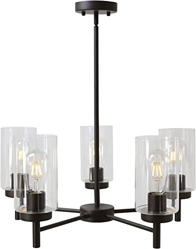 VINLUZ Contemporary 5-Light Large Chandeliers Oil Rubbed Bronze Modern Lighting Fixtures Hanging Clear Glass Shades Pendant Lighting