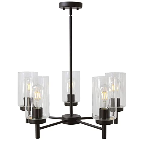 VINLUZ Contemporary 5 Light Large Chandeliers Oil Rubbed Bronze Modern Lighting Fixtures Hanging Clear Glass