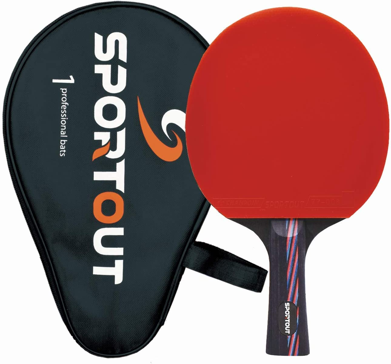 Sportout ITTF - Raqueta de tenis de mesa con funda, 9 capas de madera y 8 capas de carbono