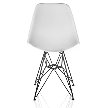 Overstock DSR Molded White Plastic Dining Shell Chair With Black Eiffel  Steel Leg (Set Of