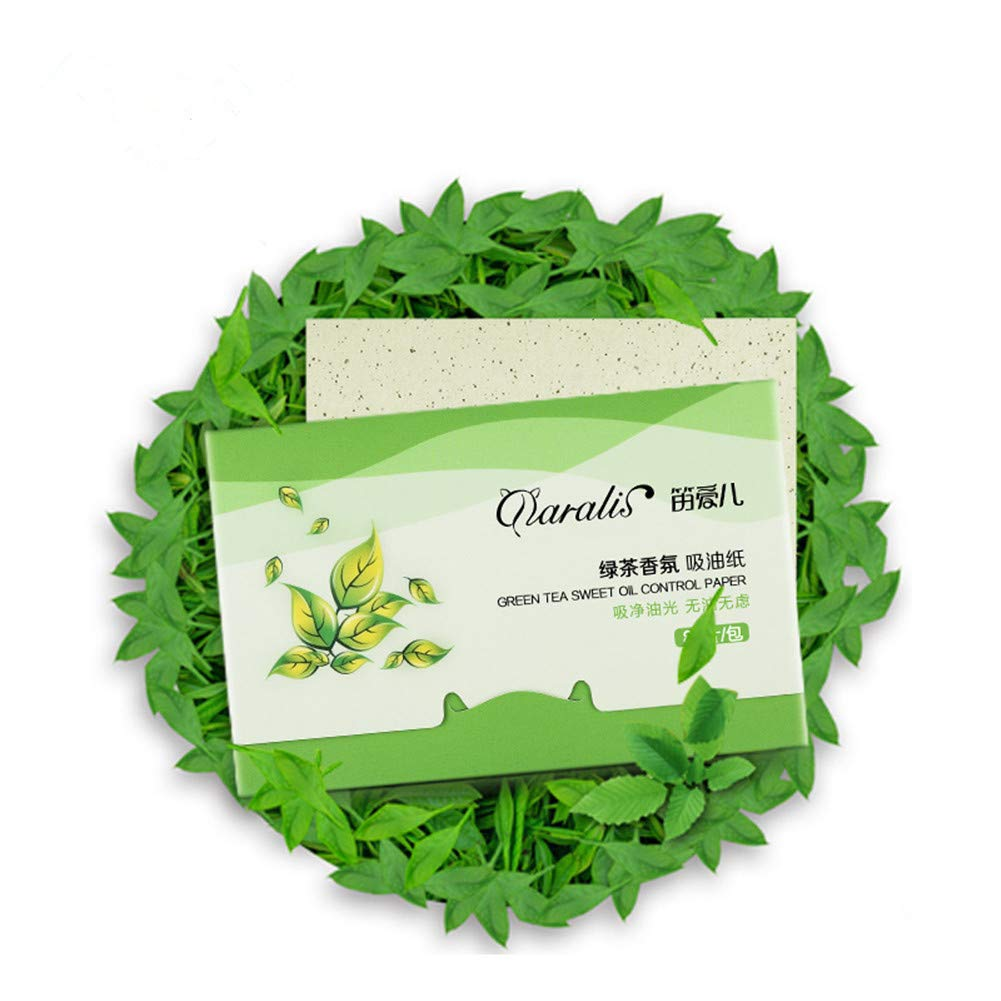 KAYI Fresh Green Tea Oil Absorbing Sheets - 80 Counts, Large Size Oil Blotting Paper - Oily Facial Skin, Acne Prone Skin Daily Use