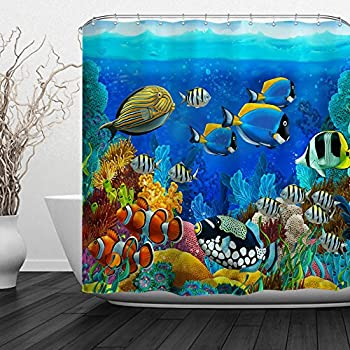 Baccessor Fish Shower Curtain Ocean Clear Undersea World Sea Animal with Corals Reefs and Tropical Fishes Waterproof Fabric, 72