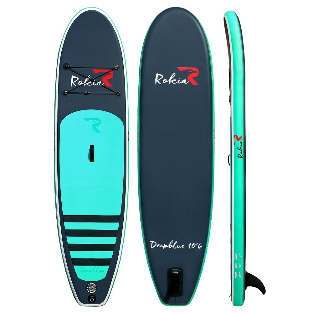 """Amazon.com : ROKIA 10'6"""" Inflatable SUP Stand Up Paddle Board (6"""" Thick)  iSUP for Fitness, Yoga, Fishing on Flat Water, Blue : Sports & Outdoors"""
