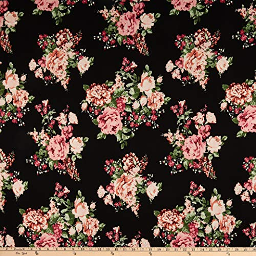 Rose Fabric Floral (Fabric Double Brushed Poly Jersey Knit Floral Bouquet Black/Rose Fabric by the Yard)