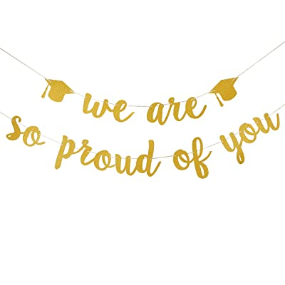 Graduation Decorations 2020 -Gold We are so proud of you Banner for 2020 Graduation Party Decorations,Congratulations Grad Party Supplies: Toys & Games