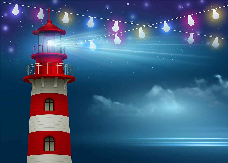 SZZWY 7x5ft Seaside Lighthouse Backdrop Lights Bright Sparkling Seaside Lighthouse Photography Backdrop Photo Studio Background Props LYNAN384