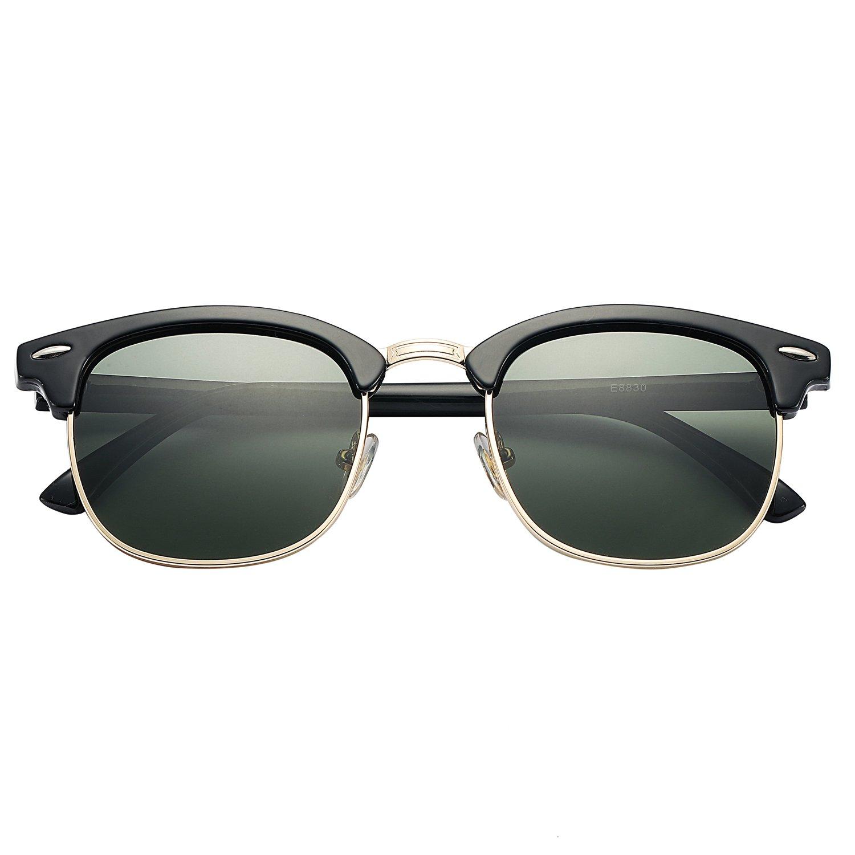 57ea7a22b1e Amazon.com  Pro Acme Sunglasses with Polarized Lens for Men Women Retro Semi  Rimless Sun Glasses (Black   G15 Green)  Clothing