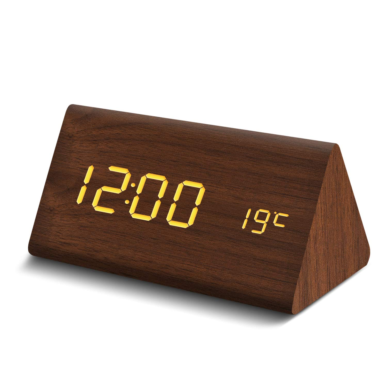 825f83e9d2 置き時計 目覚まし時計 LED時計 アラームクロック Fomobest 音声感知 カレンダー付き 温度計 3つの