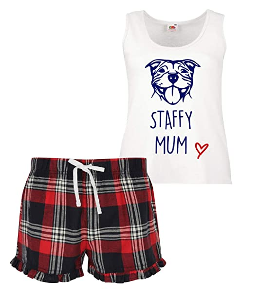 rivenditore online 9a19f d29b3 Staffy Mum Donna Scozzese Fronzoli Corto Set Pigiama Staffordshire Bull  Terrier Rosso Blu Verde Blu