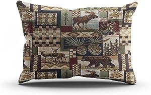 Suike Lodge Cabin Beauty Hidden Zipper Home Decorative Throw Pillow Cover Cushion Case Boudoir 16x24 Inch Design Printed Furniture Durable Comfortable HeavyWaterproof Pillowcase