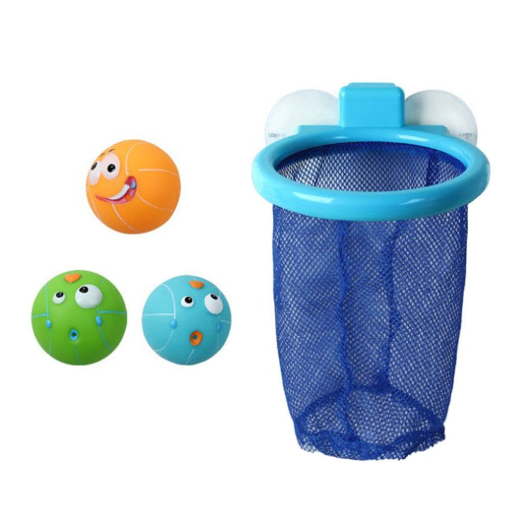 TOYMYTOY Baby Bath Toy Bath Basketball Toy with Suction Cup Net and 3 Balls Bathtub Floating Toys